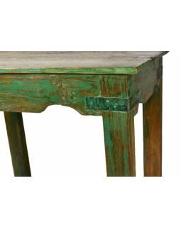 Odkládací stolek, zelená patina, teak, 61x41x65cm
