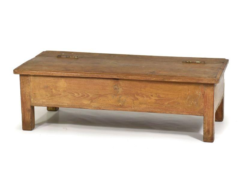 Nízký otevírací stolek z antik teakového dřeva, 92x42x30cm