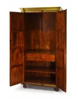 Velká skříň na oblečení z palisandrového dřeva s mosazným kováním,96x56x200cm