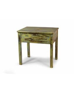 Odkládací stolek, zelená patina, teak, 56x42x53cm