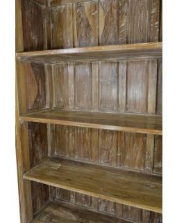 Velká knihovna z antik teakového dřeva s bílou patinou, 118x39x192cm