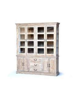Prosklená skříň z antik teakového dřeva, dvoudílná, bílá patina, 187x45x216cm
