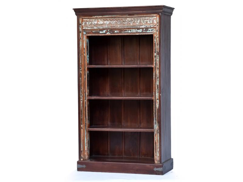 Knihovna ze starého týku, ručně vyřezávaný starý portál, 101x42x175cm