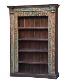Velká knihovna ze starého teaku a manga, řezby, sloni, 152x53x219cm