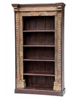 Velká knihovna ze starého teaku a manga, řezby, sloni, 127x50x227cm
