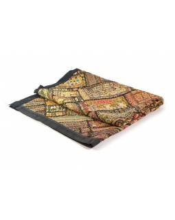 Přehoz na postel z Rajastanu, patchwork, zrcátka, ruční práce, 198x128cm