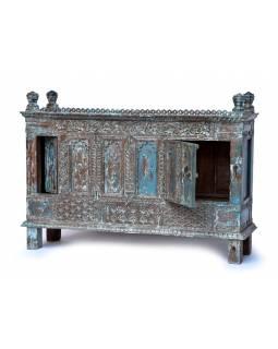 Antik komoda z teakového dřeva, modrá patina, 161x46x114cm