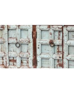 Komoda ze starého teakového a mangového dřeva, tyrkysová patina, 202x51x100cm