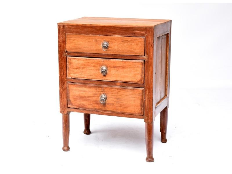 Komodka ze starého teakového dřeva, 3 šuplíky, 56x37x79cm