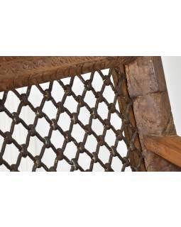2 křesla z antik teakového dřeva a kovanou mříží, 68x75x88cm