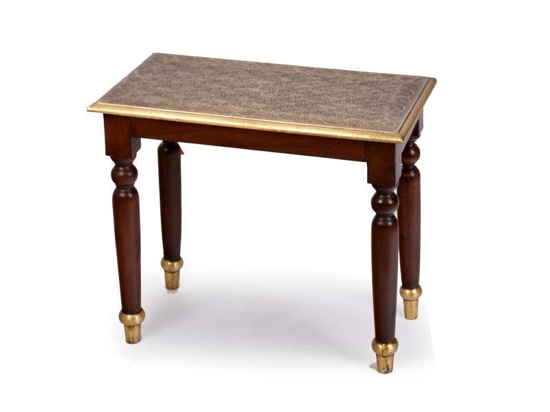 Stolička z palisandrového dřeva s mosazným kováním, 60x33x52cm