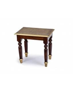 Stolička z palisandrového dřeva s mosazným kováním, 42x30x40cm