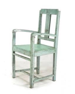 Stará školní židle, modrá patina, teak,  50x43x96cm