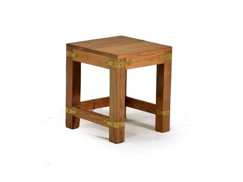 Stolička, kování v rozích, starý teak, 25x25x30cm