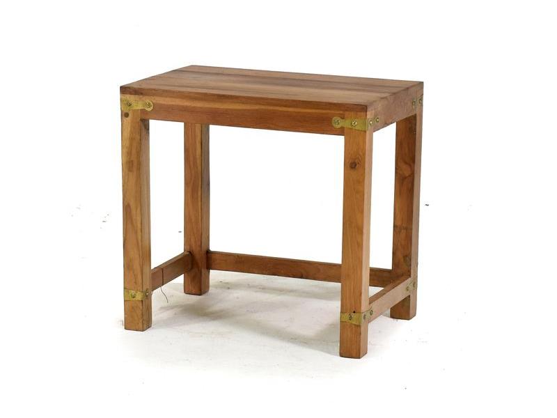 Stolička, kování v rozích, starý teak, 45x30x43cm