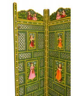 Zelený vyřezávaný paraván z mangového dřeva, ručně malovaný, 204x2,5x181cm