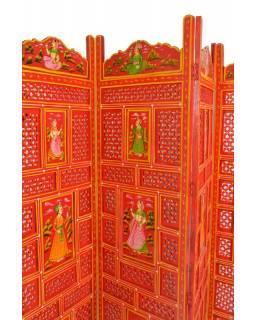 Oranžový vyřezávaný paraván z mangového dřeva, ručně malovaný,  204x2,5x181cm