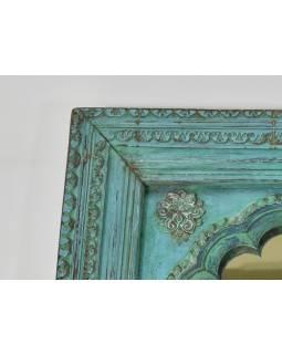 Zrcadlo v rámu z teakového dřeva, tyrkysová patina, 74x147x9cm
