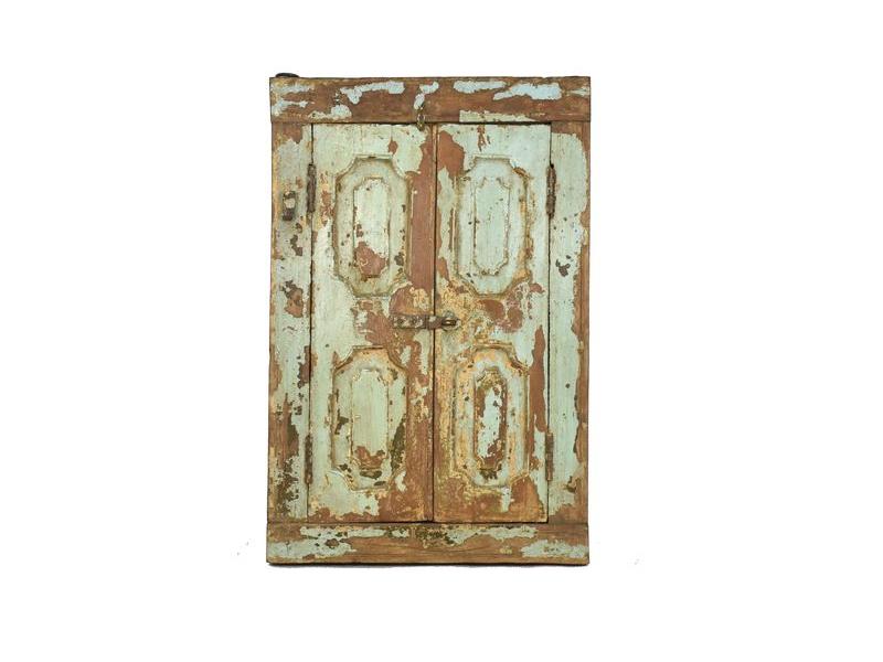 Staré teakové okno se zrcadlem, tyrkysová patina, 58x85x8cm