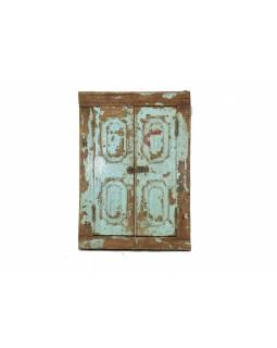 Staré teakové okno se zrcadlem, tyrkysová patina, 56x85x8cm