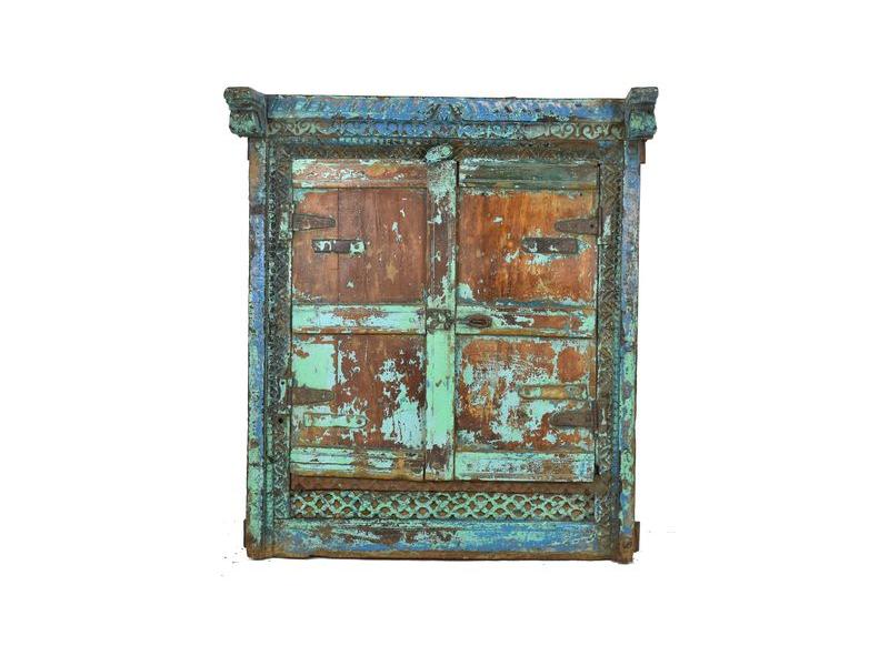 Staré teakové okno se zrcadlem, tyrkysová patina, 51x66x14cm