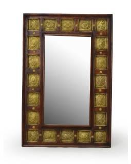 Zrcadlo v rámu zdobené kováním, palisandr, 60x91x6cm