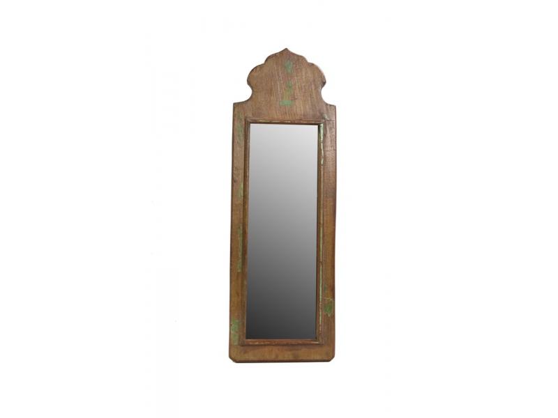 Malé zrcadlo v rámu z recyklovaného teakového dřeva, 16x47x3cm