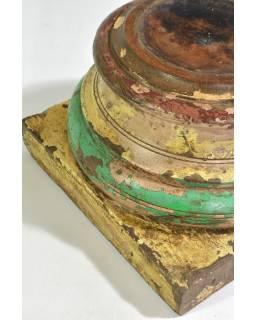 Dřevěný svícen z antik teakového sloupu, zeleno-bílá patina, 30x30x20cm