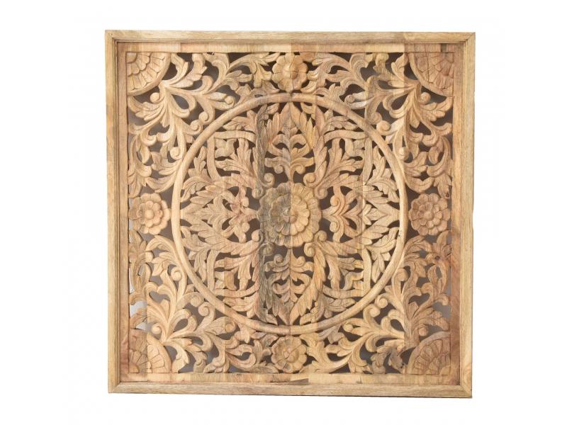 Dřevěný svícen z antik teakového sloupu, zeleno-bílá patina, 33x33x23cm
