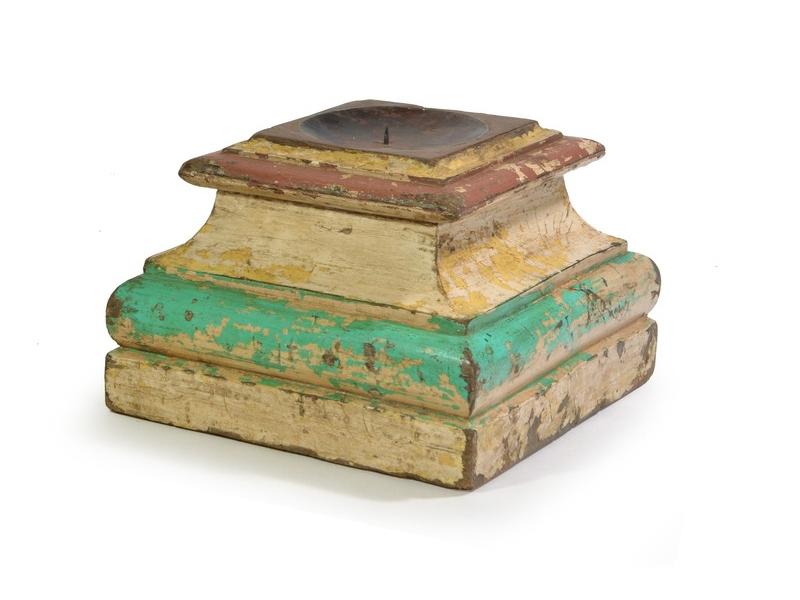 Dřevěný svícen z antik teakového sloupu, zeleno-bílá,, 33x33x23cm