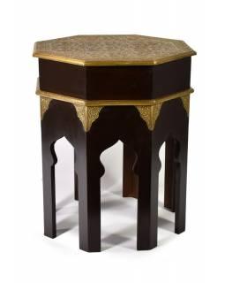 Osmiboký stolek, mosazné kování, palisandr, 46x46x56cm