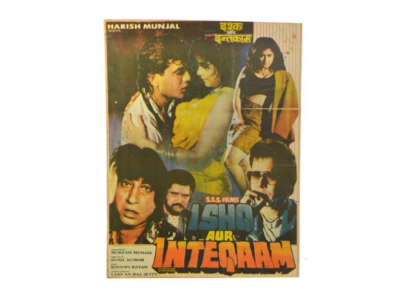 Antik indický filmový plakát Bollywood, cca 92x70cm