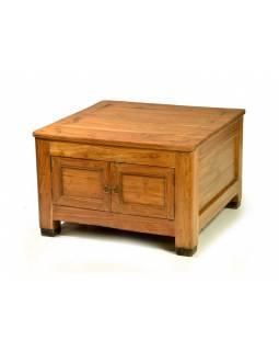 Stolek/komoda z antik teakového dřeva, dvířka, 71x71x46cm