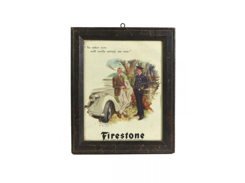 Antik obraz v dřevěném rámu Firestone, 21x25cm