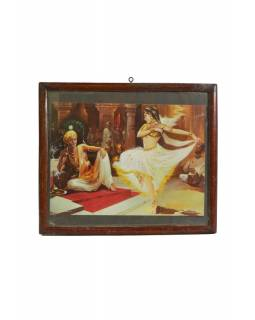 Antik obraz v dřevěném rámu Tanečnice, 32x28cm