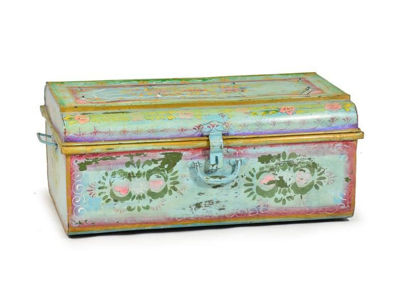 Plechový kufr, ručně malovaný, zelená, 76x48x33cm