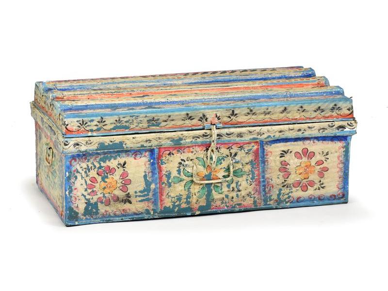 Plechový kufr, ručně malovaný, 68x36x26cm