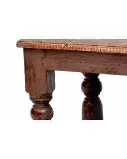 Stolek z antik teakového dřeva, šedorůžová patina, 65x51x64cm