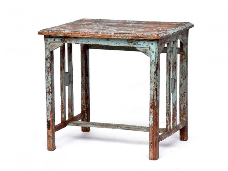 Stolek z antik teakového dřeva, tyrkysová patina, 65x51x64cm
