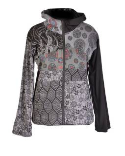 Černo-šedá mikina s kapucí zapínaná na zip, mix potisků, kapsy a výšivka