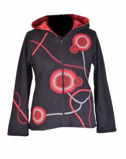 Černo-červená mikina s kapucí zapínaná na zip, mandala aplikace a výšivka