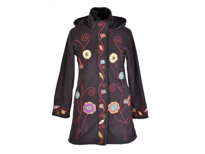 Černý dámský kabátek s kapucí zapínaný na zip, Flowers design, výšivka