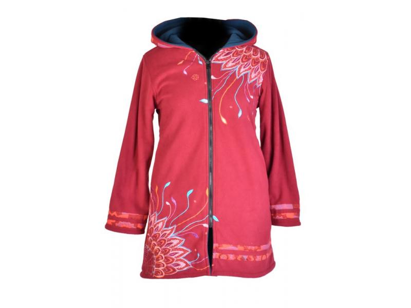 Vínový dámský kabátek s kapucí zapínaný na zip, Sun design, výšivka