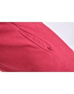 Vínový fleecový dámský kabátek s kapucí zapínaný na zip, Sun design, výšivka
