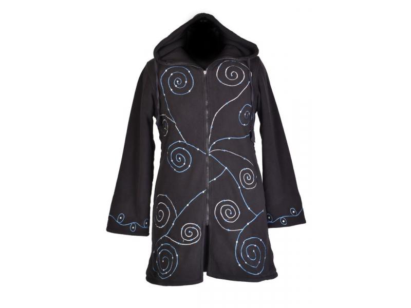 Černý dámský kabátek s kapucí zapínaný na zip, spiral výšivka a mandala potisk