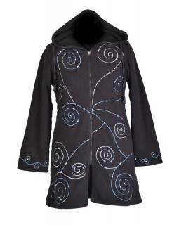 Černý fleecový dámský kabátek s kapucí zapínaný na zip, spiral výšivka a mandala