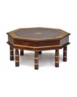 Stolek z palisandrového dřeva, mosazné kování, 83x83x42cm