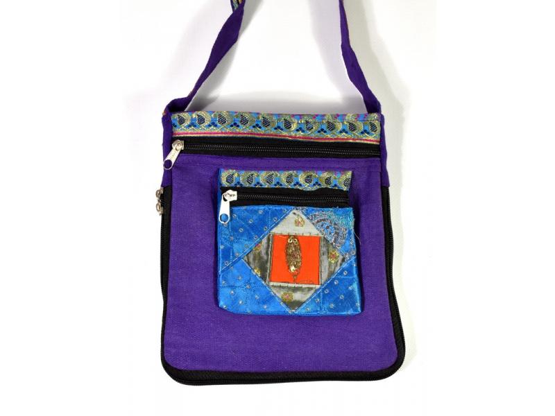 Malá fialová taštička s aplikací sárí, zapínání na zip, 24x19cm
