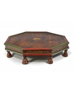Čajový stolek z teakového dřeva, řezby na boku, 78x78x17cm