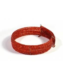 Kruhový náhrdelník ze skleněných korálků, 10 řad, červený